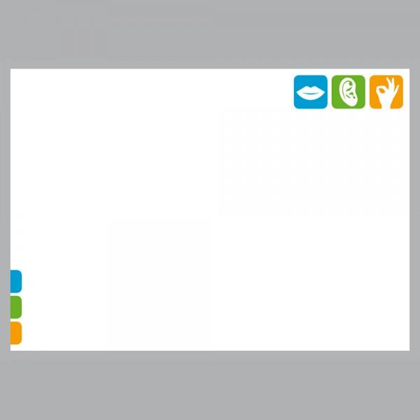 Flyer Pikto Logo, A4 quer zum Falten, 100 g/m²