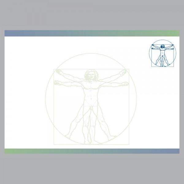 Flyer Leonardo blau, A4 quer zum Falten, 100 g/m²