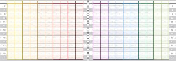 Tages-Terminbuch 20 Spalten 10/20 Minuten Spiralbindung