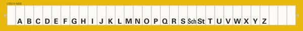 Alphabetleiste zum Aufkleben auf Karteikarten, gelb