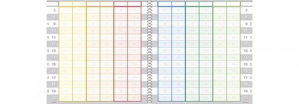Tages-Terminbuch 12 Spalten 15/30 Minuten Spiralbindung
