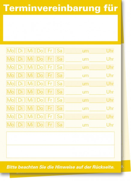 Durchschreibe-Terminzettel A7-Block, gelb
