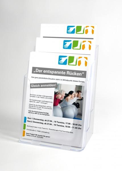 Magazin A4, drei Fächer, aus klarem Kunststoff