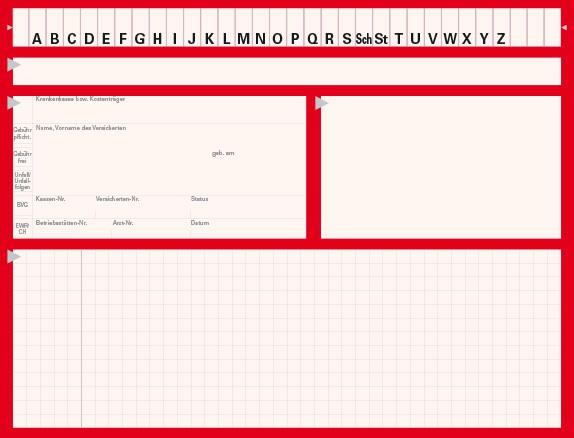 Karteikarte Typ II, Karton 190 g/m², rot