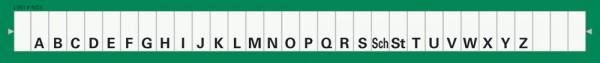 Alphabetleiste zum Aufkleben auf Karteikarten, grün
