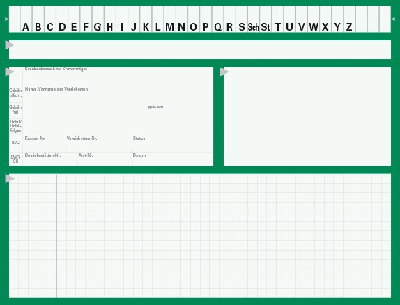 Karteikarte Typ II, Karton 190 g/m², grün