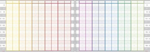 Tages-Terminbuch 20 Spalten 15/30 Minuten Spiralbindung