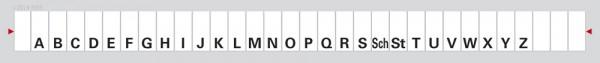Alphabetleiste zum Aufkleben auf Karteikarten, grau